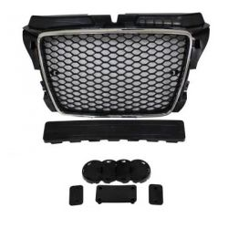 Black grille chrome for Audi A3 2008-2012 PDC - RS3 Style
